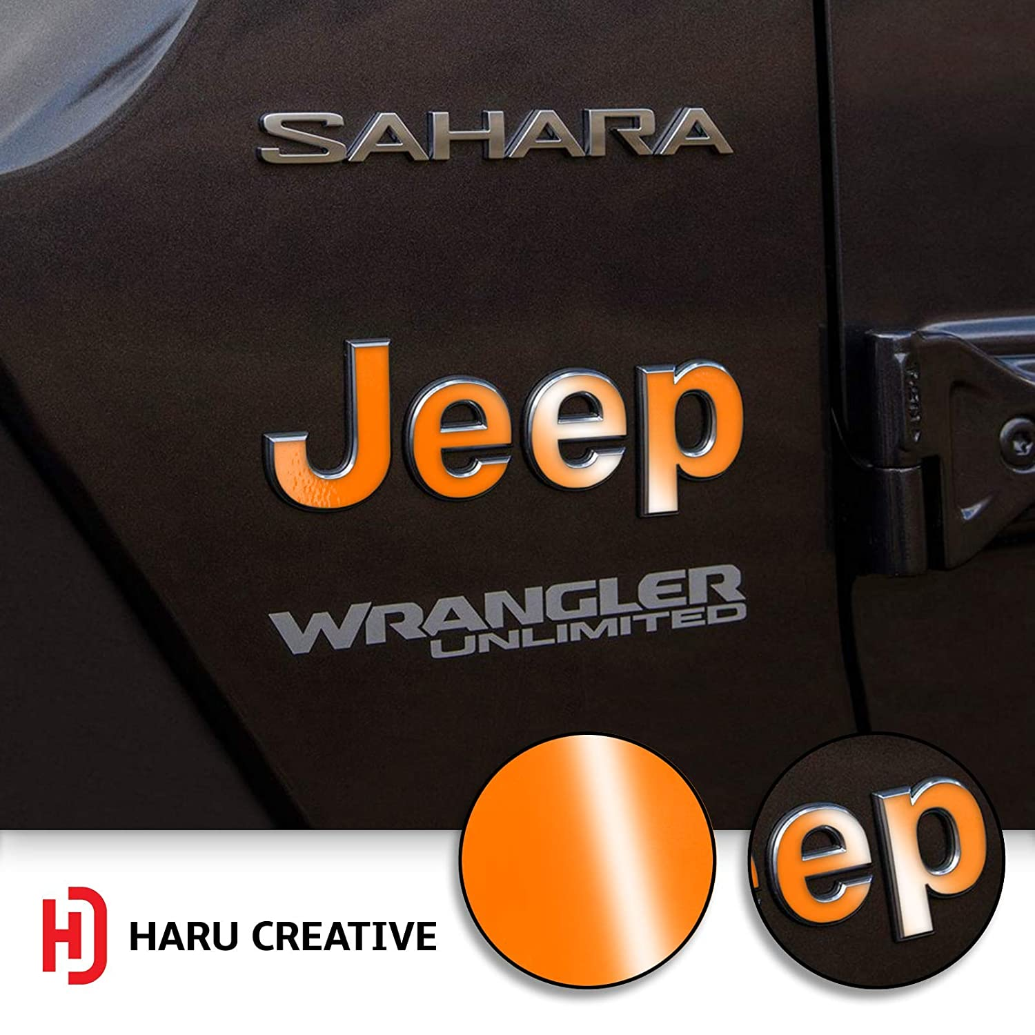 Fender Side Door Emblem Letter Overlay Vinyl Decal Sticker Compatible with and Fits Jeep Wrangler JL 2018 Haru Creative Gloss Blue