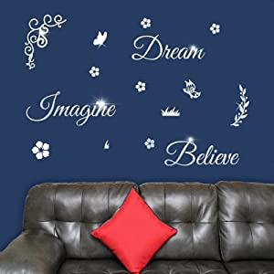 3D Acrylic Mirror Wall Decor with Butterflies Flower Wall Stickers DIY Dream Imagine Believe Quotes Mirror Wall Decals Décor Art Murals for Living Room Bathroom Office Mirror Wall Decoration (Silver)