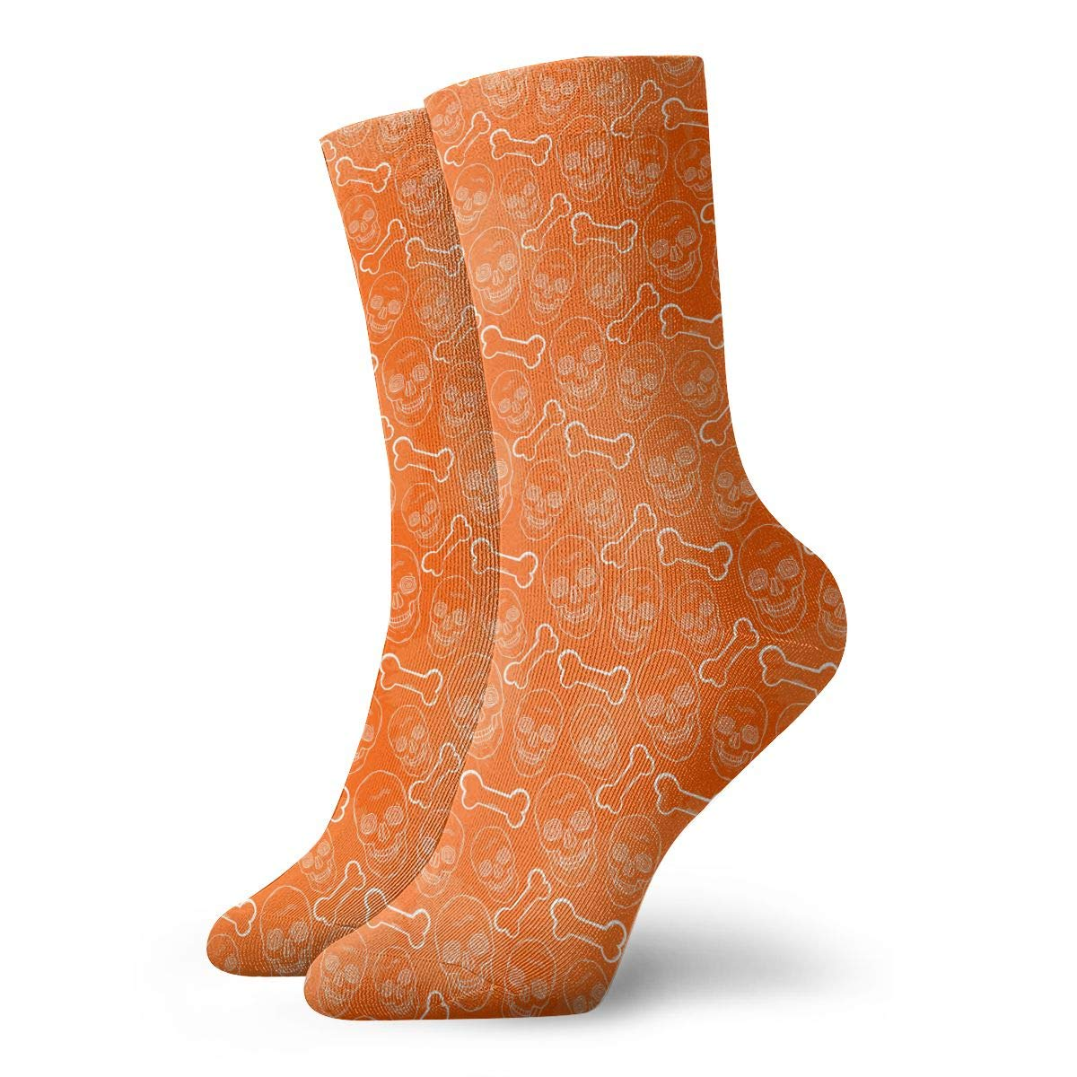 Unisex Pattern With Skull Orange Athletic Quarter Ankle Print Breathable Hiking Running Socks