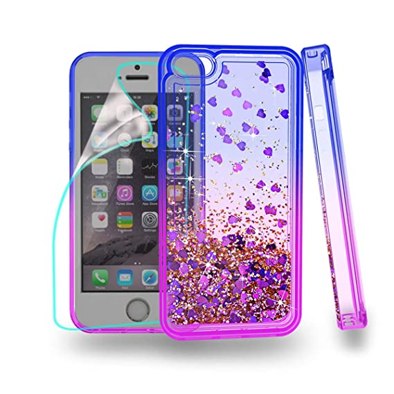 online store ca9ed c2b45 ZingCon for iPhone 5S Case,iPhone 5/iPhone SE/iphone 5G Phone Case,Glitter  Case with Quicksand Bling Adorable Shine,[HD Screen Protector]Shockproof ...
