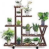 cfmour Wood Plant Stand Indoor Outdoor, Plant Display Multi Tier Flower Shelves Stands, Garden Plant Shelf Rack Holder in Cor