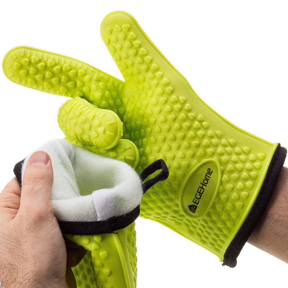 Silicone BBQ Heat Resistant EGEHome Cooking Gloves with Internal Protective Cotton Layer (Green)