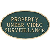 "Montague Metal Products 6"" x 10"" Oval Property Under Video Surveillance Statement Plaque with 23"" Lawn Stake"