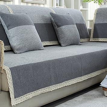 Baumwolle Und Leinen Sofa Handtuch,Volltonfarbe Sofabezug ...