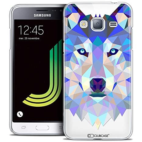 outlet store the cheapest affordable price Caseink - Coque Housse Etui pour Samsung Galaxy J3 2016 (J320) [Crystal HD  Polygon Series Animal - Rigide - Ultra Fin - Imprimé en France] Loup