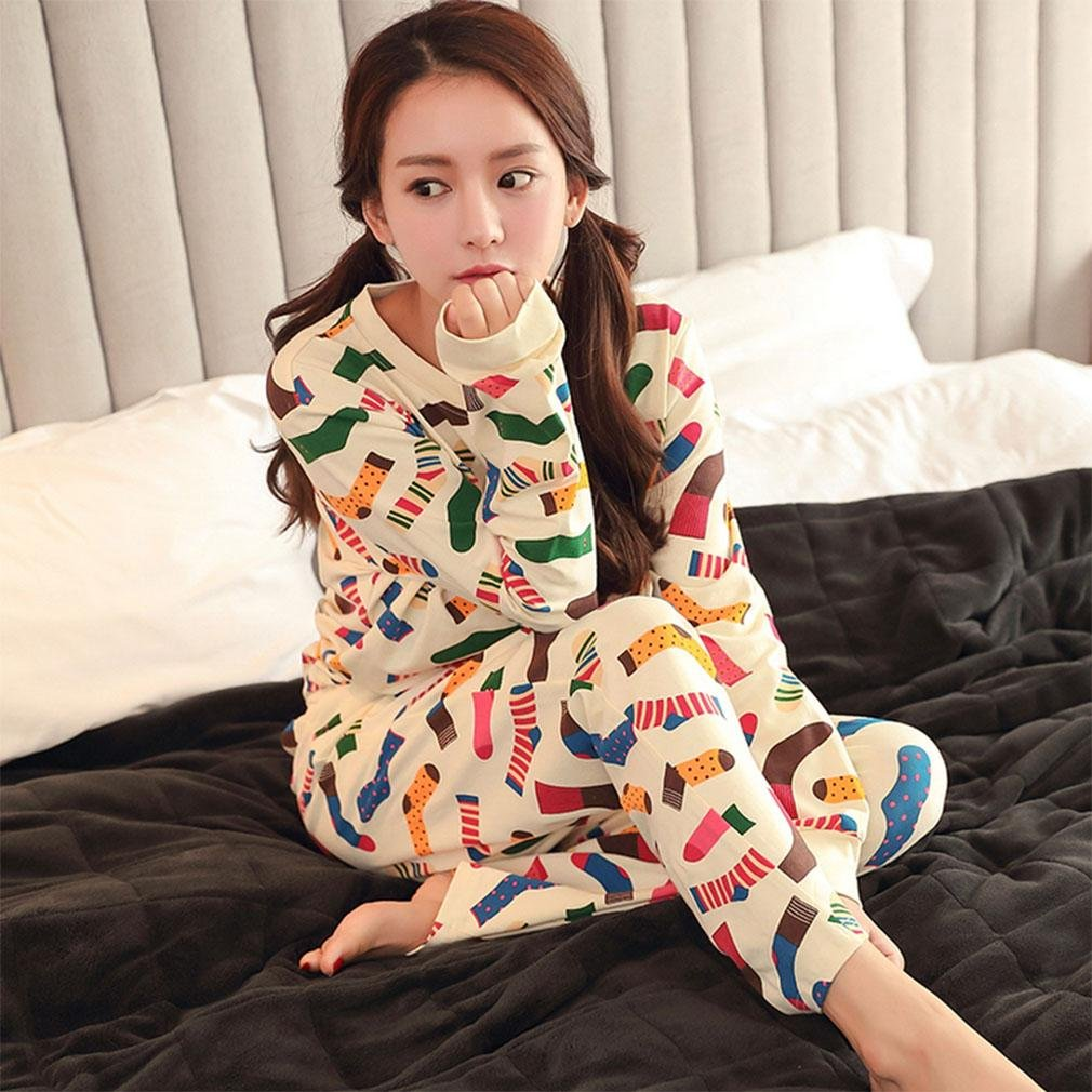 MOXIN ladies pyjamas autumn cotton long sleeve suit ?100% Cotton? , xxl , B