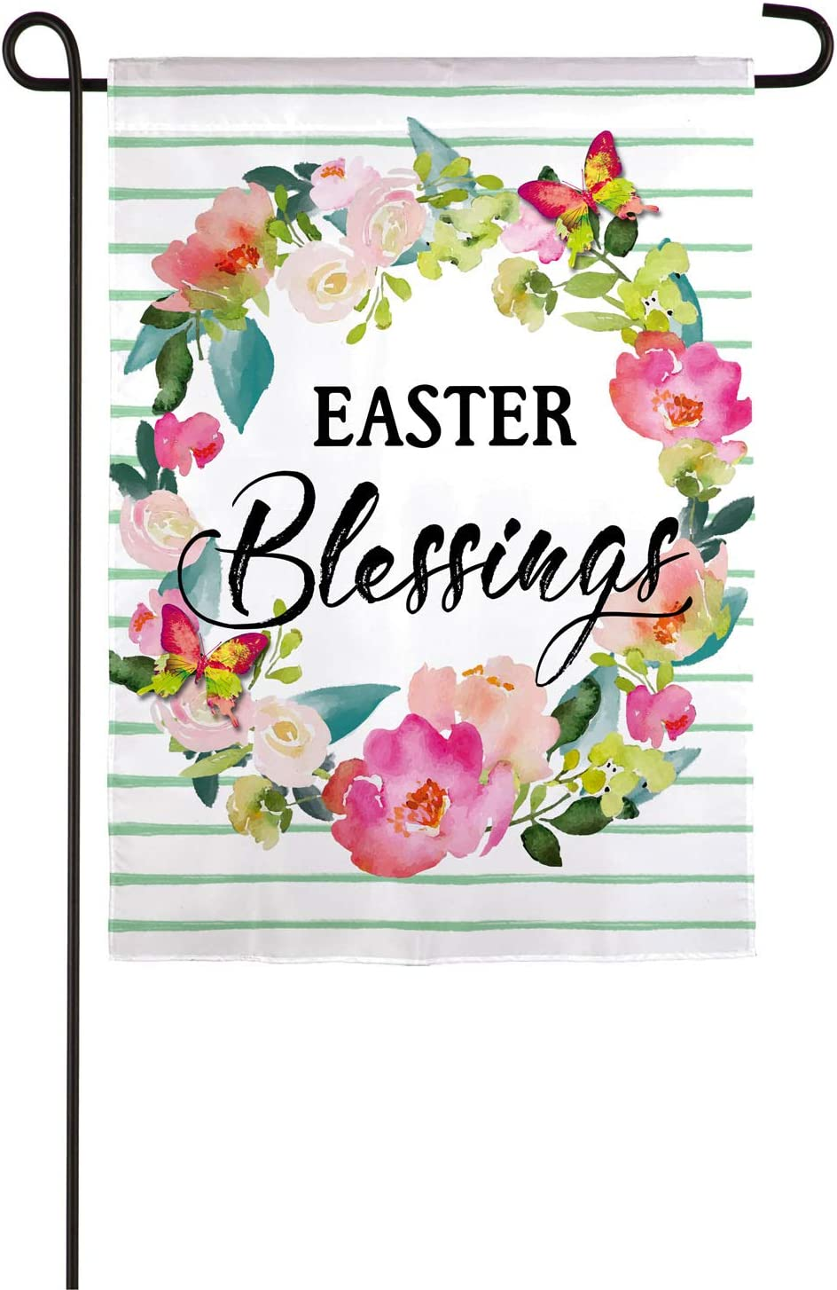 Evergreen Flag Beautiful Easter Blessings Wreath Linen Garden Flag - 13 x 18 Inches Fade and Weather Resistant Outdoor Decoration for Homes, Yards and Gardens