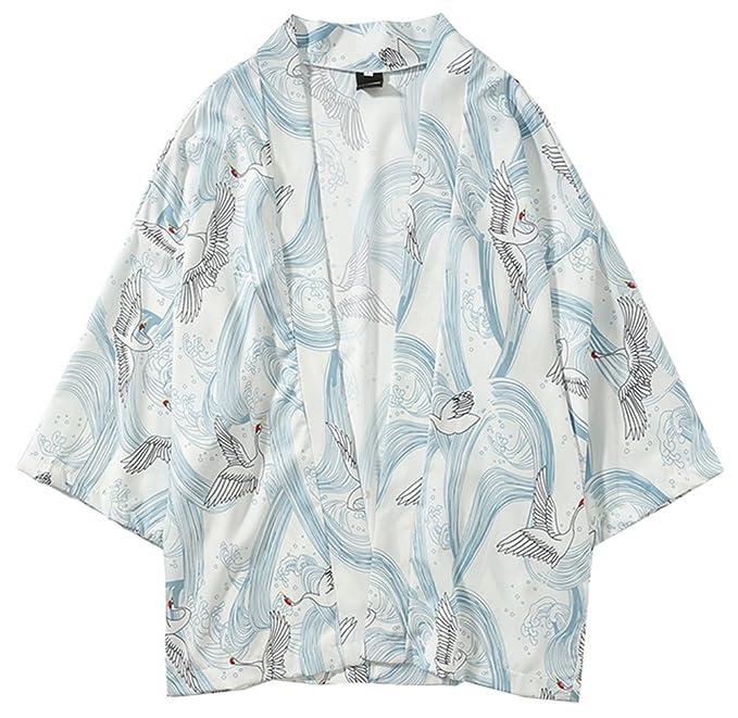 Amazon.com: LifeHe Japan Kimono Cardigan Casual Abrigo ...
