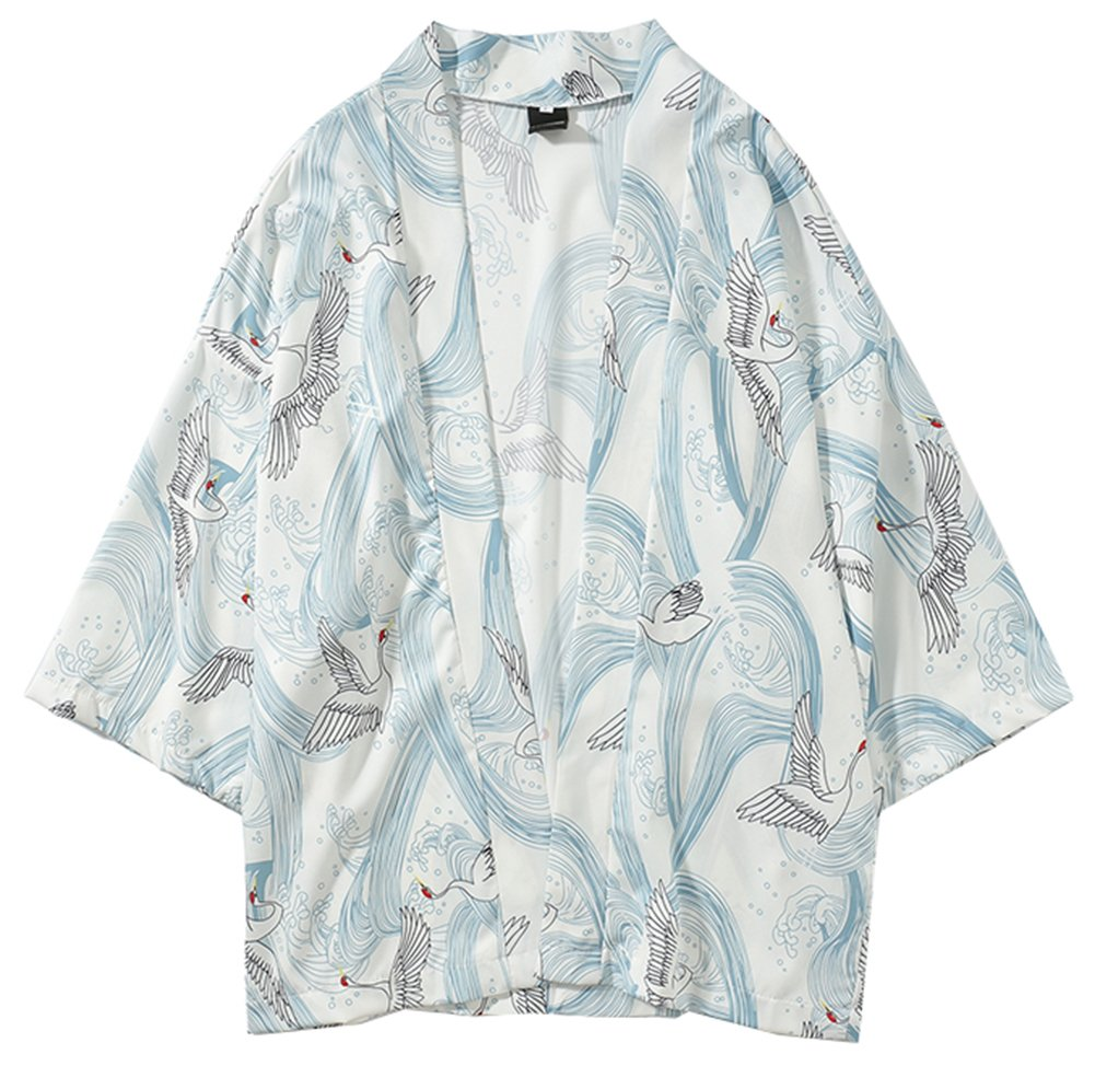 LifeHe Men's Japan Crane Kimono Cardigan Casual Cotton Linen Flying Fish Open Front Coat (Crane White, S)