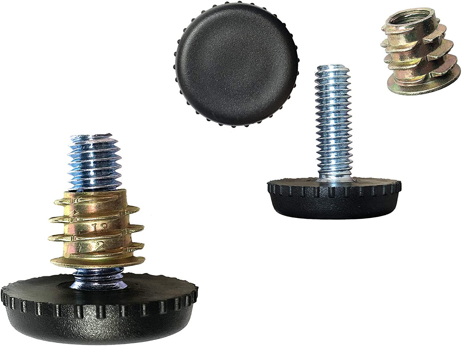 """Furniture Levelers with Screw-in Nuts-8 Pack 
