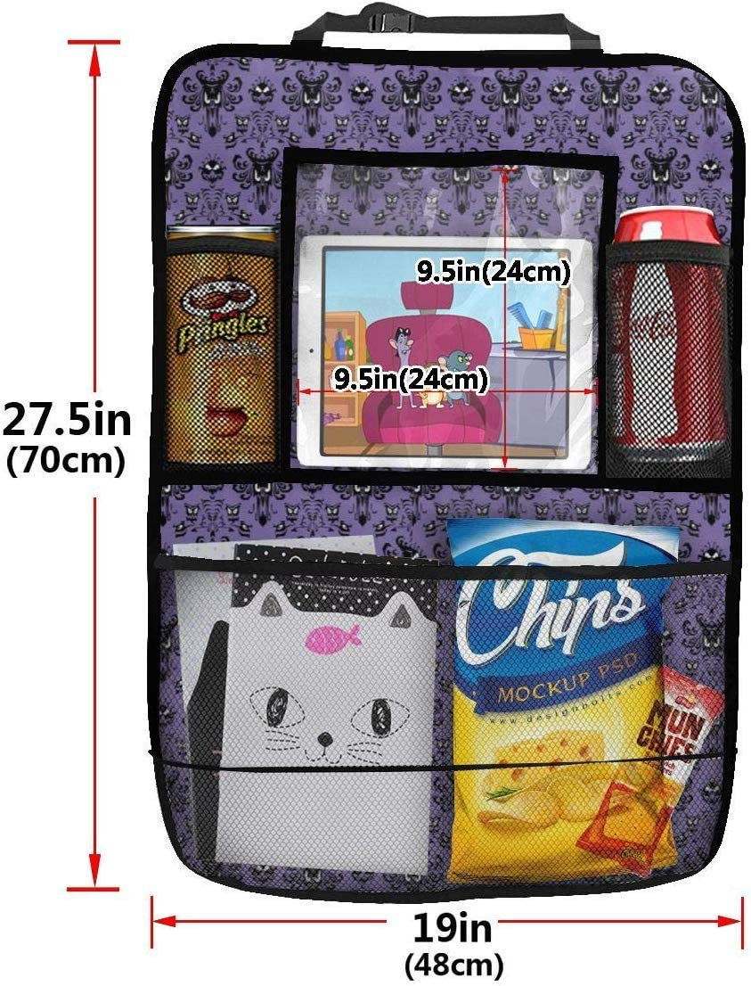 AGnight Borsa portaoggetti per Sedile Posteriore 2 Pack Durable Car Backseat Organizer Haunted Mansion Muti-Pocket Back Seat Storage Bag with Touch Screen Tablet Holder