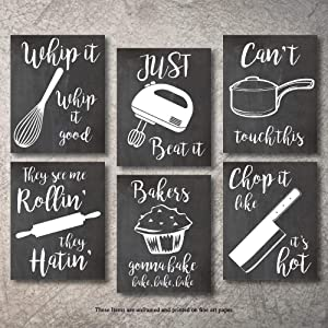"Home Decor Funny Gift 6 Kitchen Wall Art Prints Kitchenware with Sayings Unframed Farmhouse Home Office organization Signs Bar Accessories Decorations sets white house Deco Kitchen Decor (8""x10"")"