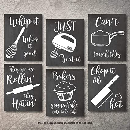 8x10 Home Decor Funny Gift 6 Kitchen Wall Art Prints Kitchenware with Sayings Unframed Farmhouse Home Office organization Signs Bar Accessories Decorations sets white house Deco Kitchen Decor
