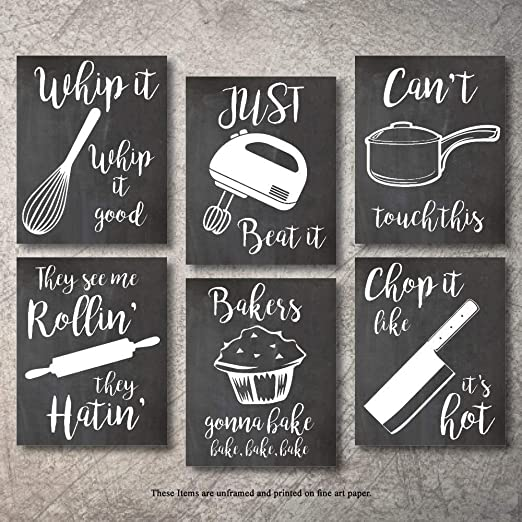 Amazon Com Home Decor Funny Gift 6 Kitchen Wall Art Prints Kitchenware With Sayings Unframed Farmhouse Home Office Organization Signs Bar Accessories Decorations Sets White House Deco Kitchen Decor 8 X10 Posters Prints