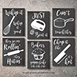 Home Decor Funny Gift 6 Kitchen Wall Art Prints Kitchenware with Sayings Unframed Farmhouse Home Office organization…