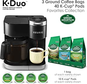 Keurig K-Duo Coffee Maker, Single Serve K-Cup Pod and 12 Cup Carafe Brewer, with Green Mountain Favorites K-Cup Pods, 40 Count and 12 oz Bagged Ground Coffee, 3 Count