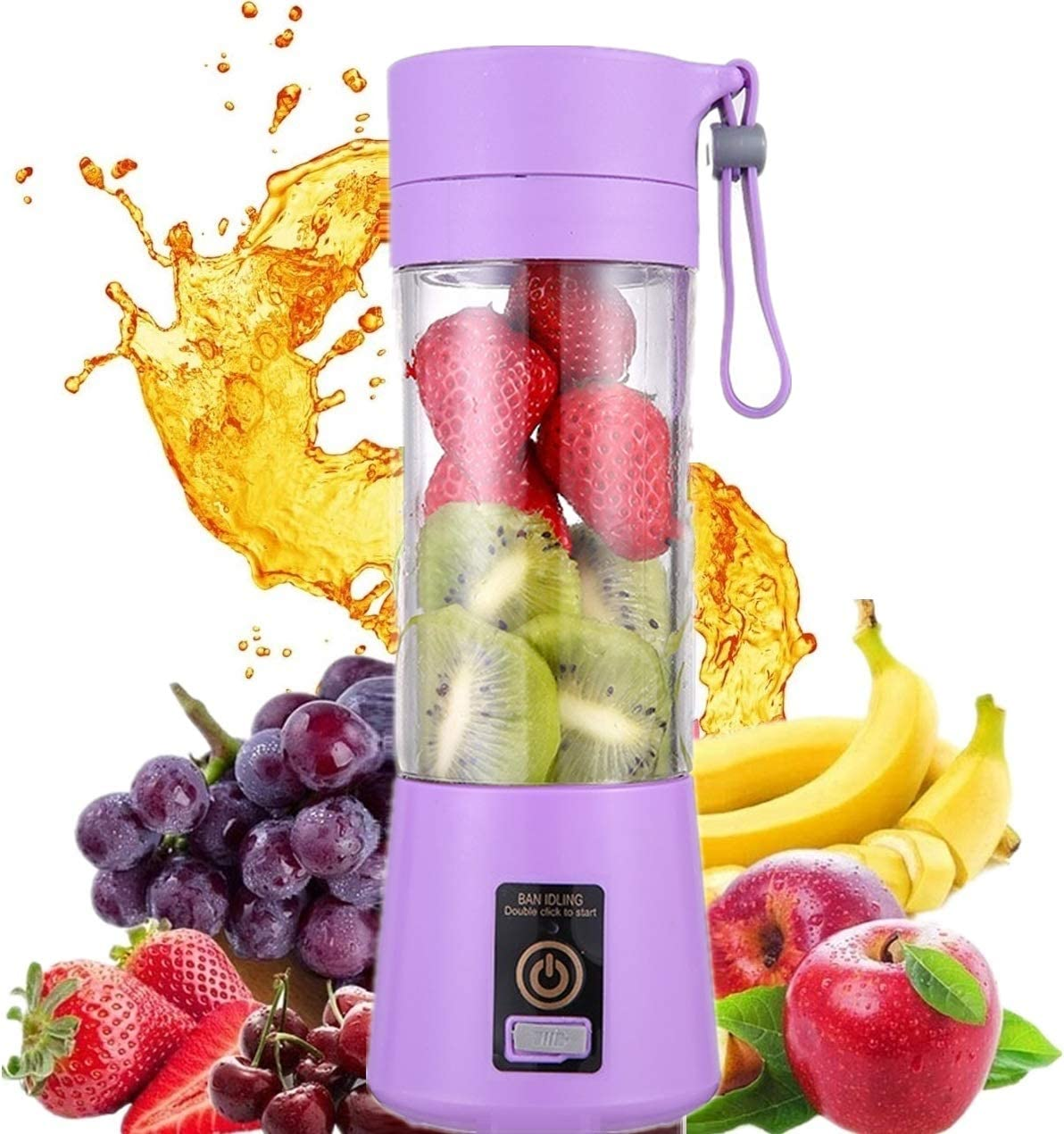HANBO Electric Portable Juicer Blender Cup, Household Fruit Mixer with Six Blades in 3D, 380ml USB Rechargeable Juice Blender Magnetic Secure Switch Electric Fruit Mixer (Purple)