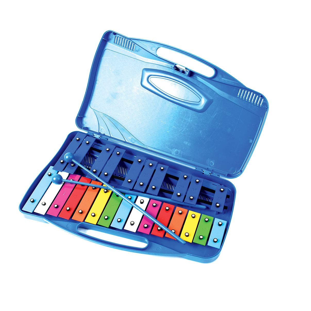 Professional Blue Plastic Soprano Glockenspiel Xylophone with 25 Metal Keys in Plastic Case - Includes 2 Plastic Beaters by Cara & Co