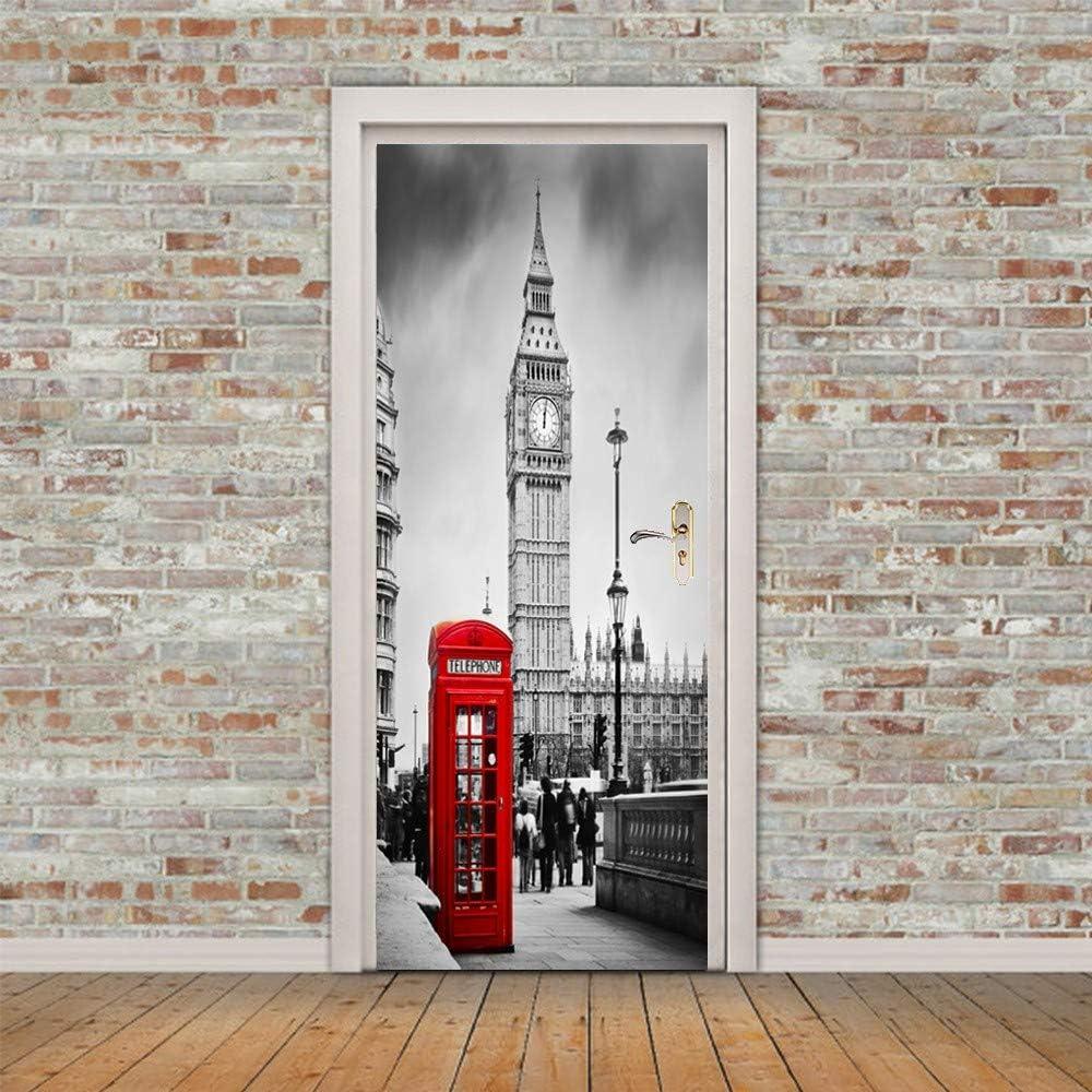 3D Etiqueta De La Puerta Puerta 3D Sticker,Torre Del Reloj Teléfono Rojo Stand,Diy Impermeable Extraíble Murales De Pared Autoadhesivas Wallpaper Pegatinas Para Dormitorio Sala De Arte Adhesivo De: Amazon.es: Hogar