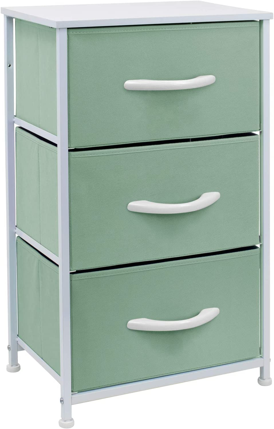 Sorbus Nightstand with 3 Drawers - Bedside Furniture & Accent End Table Chest for Home, Bedroom Accessories, Office, College Dorm, Steel Frame, Wood Top, Easy Pull Fabric Bins (Pastel Teal)