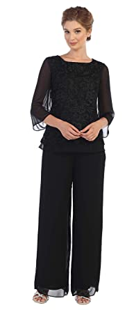 8758a1c2678 Plus Size Mother of The Bride Pant Suit Lace at Amazon Women s ...