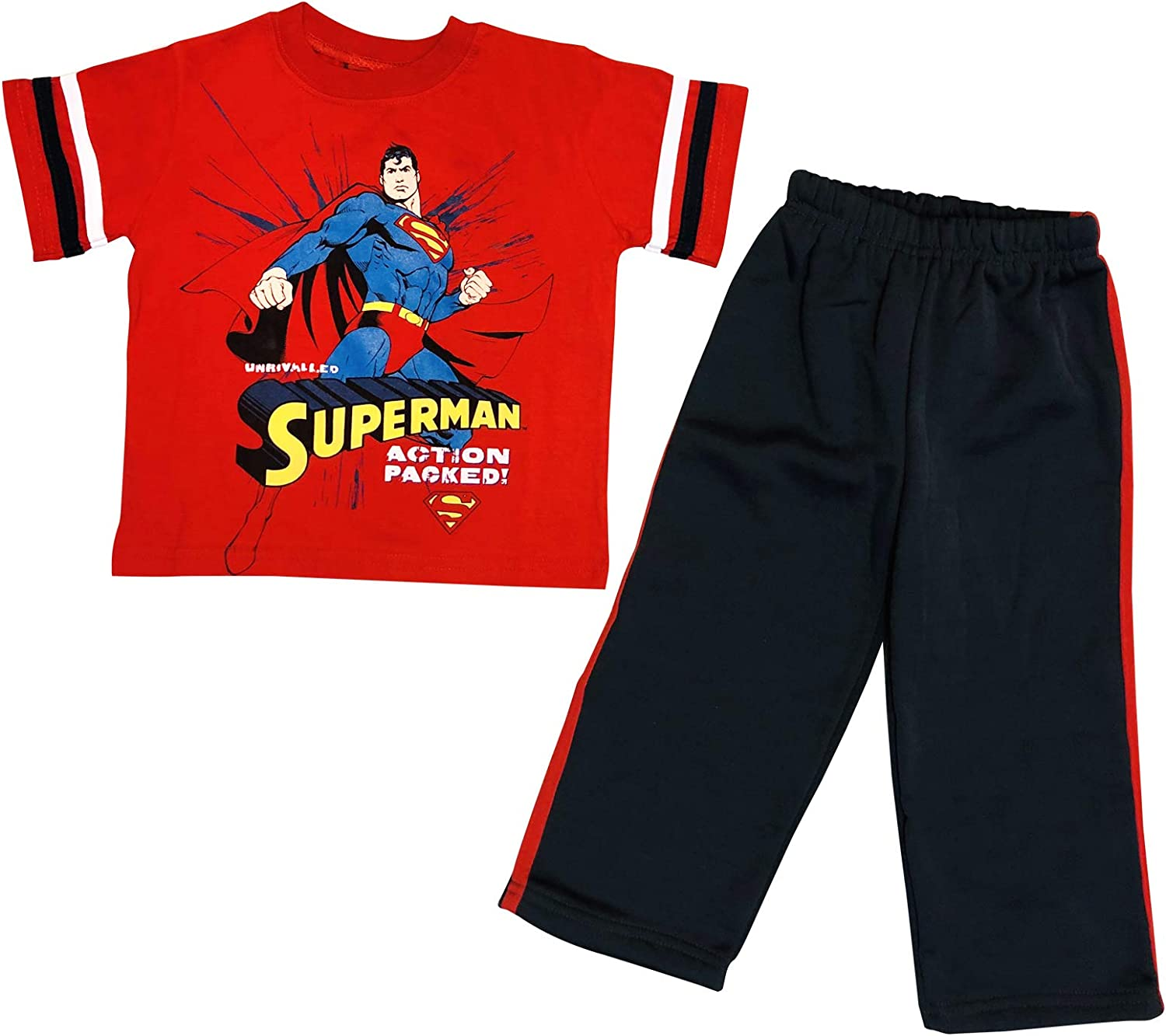 SUPERMAN Action Packed 2 Piece Set TOP Short Sleeve with Fleece Sweatpants