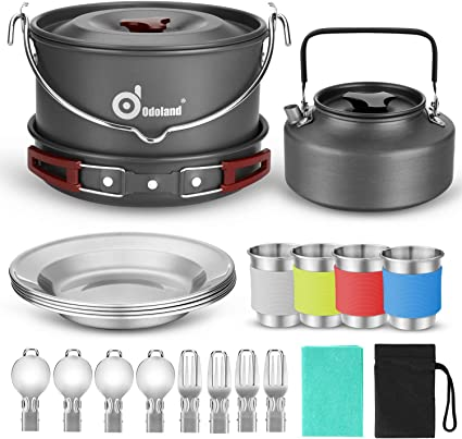 1 Person Portable CAMPING COOK SET Hiking Outdoor Travel Cooking Pots Pans Kit