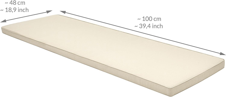 Beautissu Base BK Cojines para Bancos ca 100x48x5 cm comod/ísmo Acolchado Bancos de jard/ín desenfundable Gris Claro