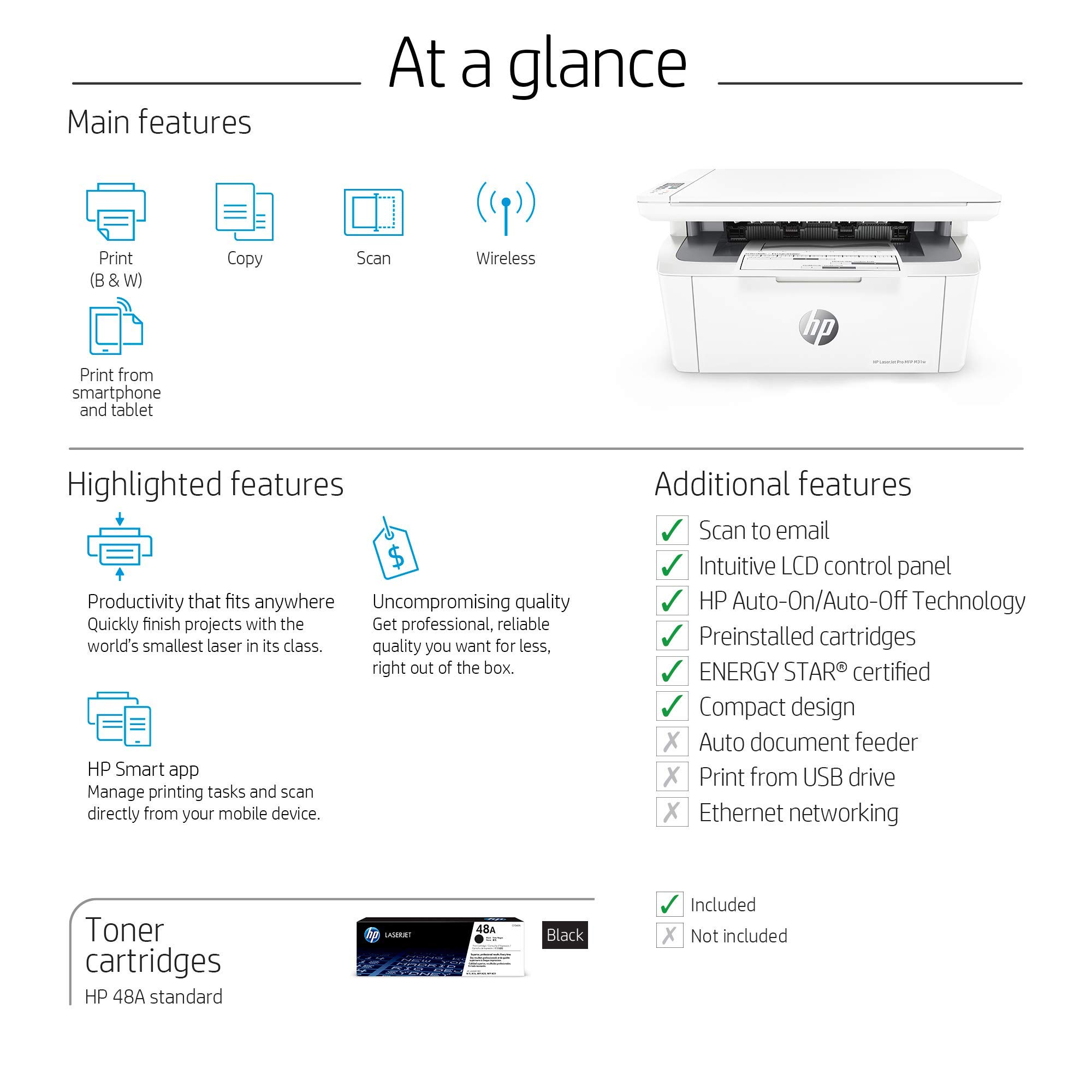 HP Laserjet Pro M31w All-in-One Wireless Monochrome Laser Printer with Mobile Printing (Y5S55A) (Renewed) by HP (Image #6)