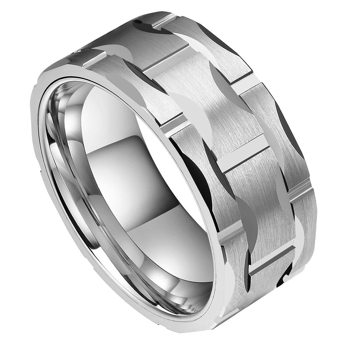 DOUX Men's 10mm Brick Pattern Silver Tungsten Carbide Statement Ring Wedding Ring For Anniversary 11