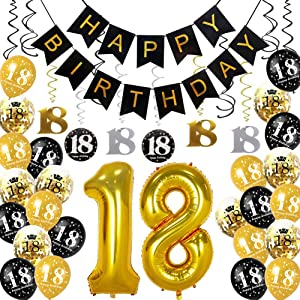 HankRobot 18th Birthday Decorations Party Supplies(42pack) Gold Number Balloon 18 Happy Birthday Banner Latex Balloons(Black, Golden) Confetti Balloons -Great for 18 Eighteen Years Old Birthday Party