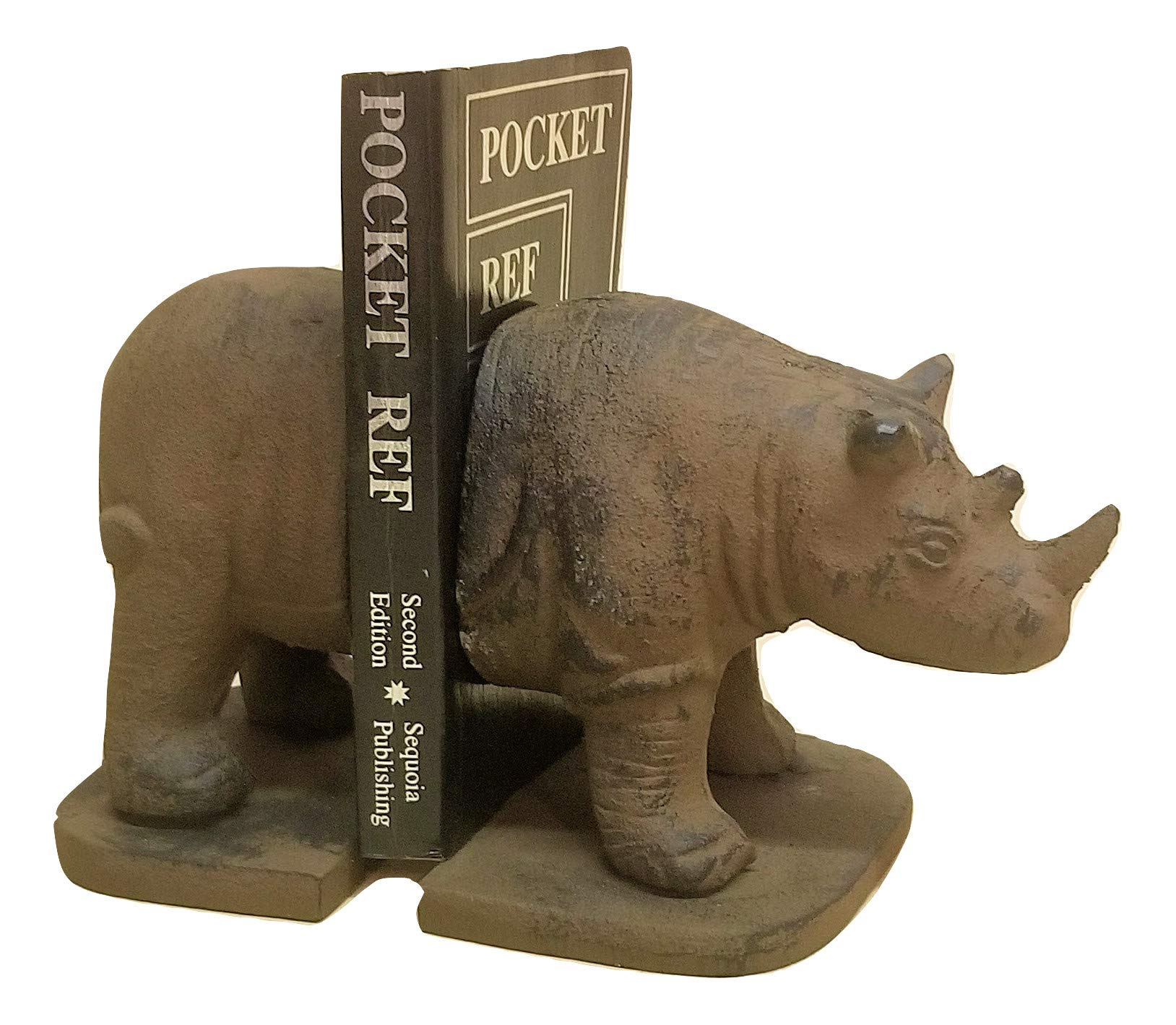 Rhino Cast Iron Bookends Heavy Duty 6 lbs. by Carver's Olde Iron