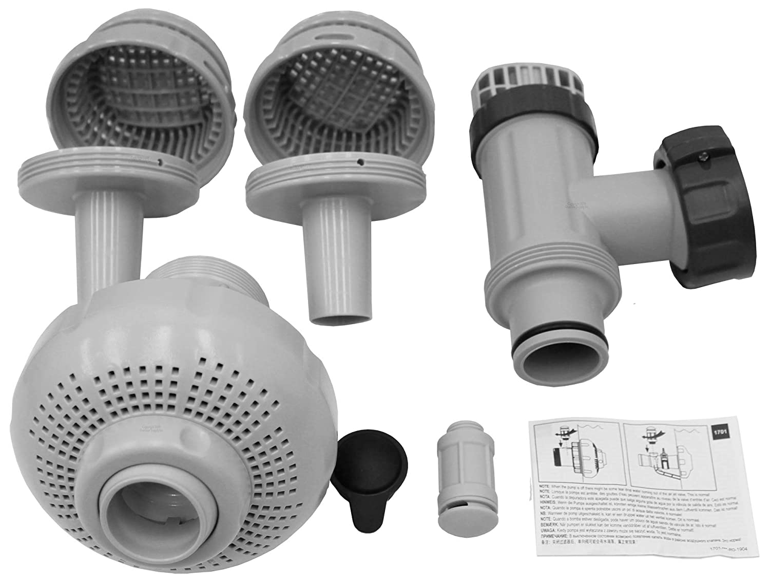 """Intex 26005E-LARGE Pool 1-1/2"""" Fittings Set 1900-2500GPH with 2 1-1/4"""" Strainers"""