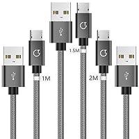 Gritin G1069 -Cavo USB Micro USB Carica Rapida -Trasferimento Dati, Grigio, 3 pezzi