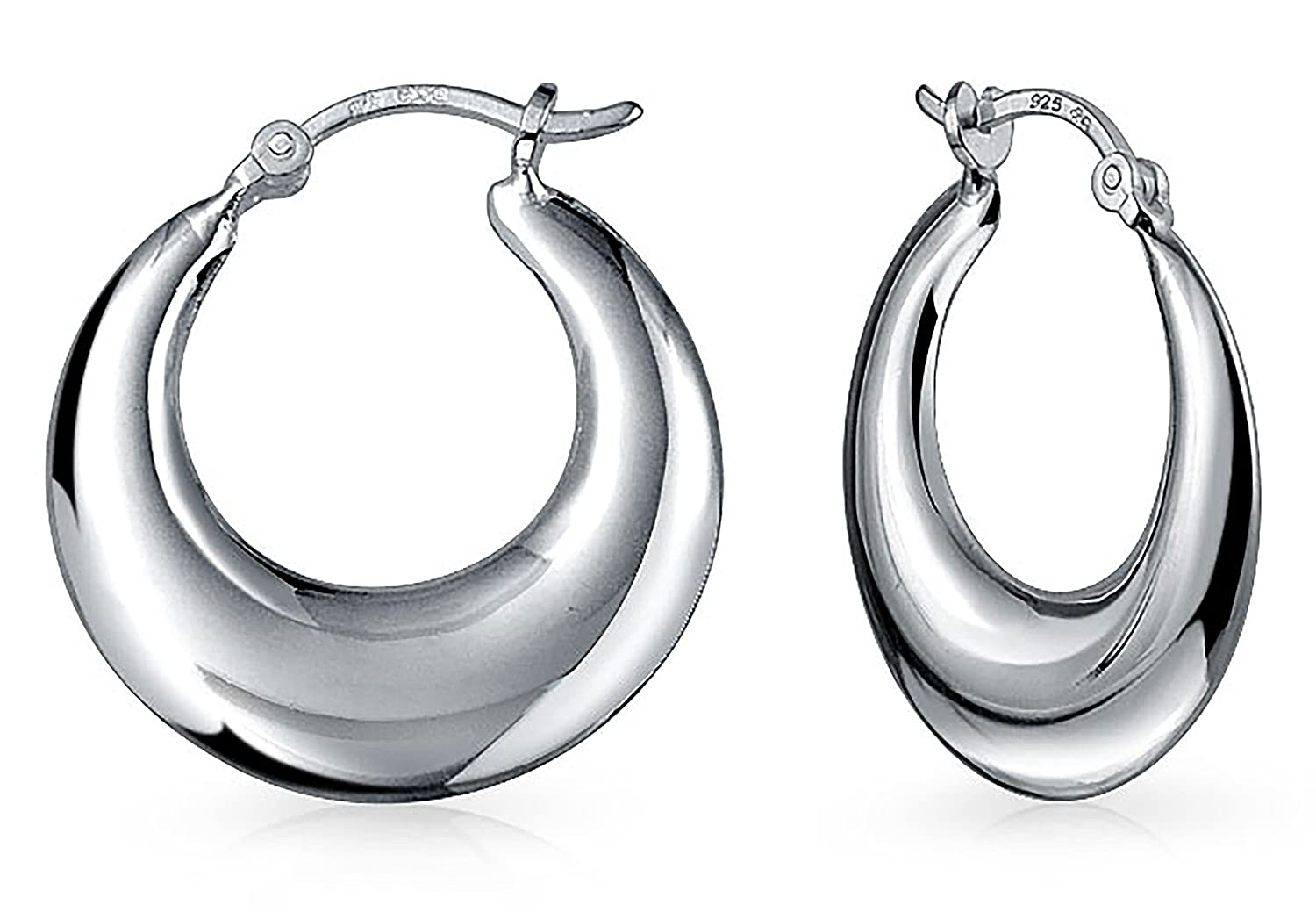 b6a06f61b36c2 Round Polished Finish Crescent Tapered Tube Hoop Earrings For Women 925  Sterling Silver Hinged Notched Post 1 Inch Dia