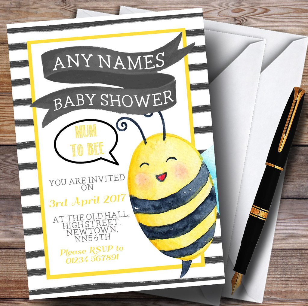 Bumble Bee Watercolour Invitations Baby Shower Invitations