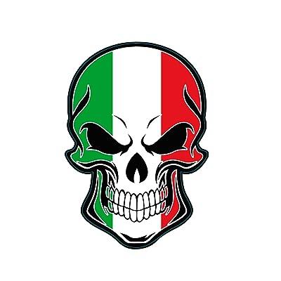 WickedGoodz Italian Flag Skull Vinyl Decal - Italy Bumper Sticker - Proud Italian Gift: Automotive