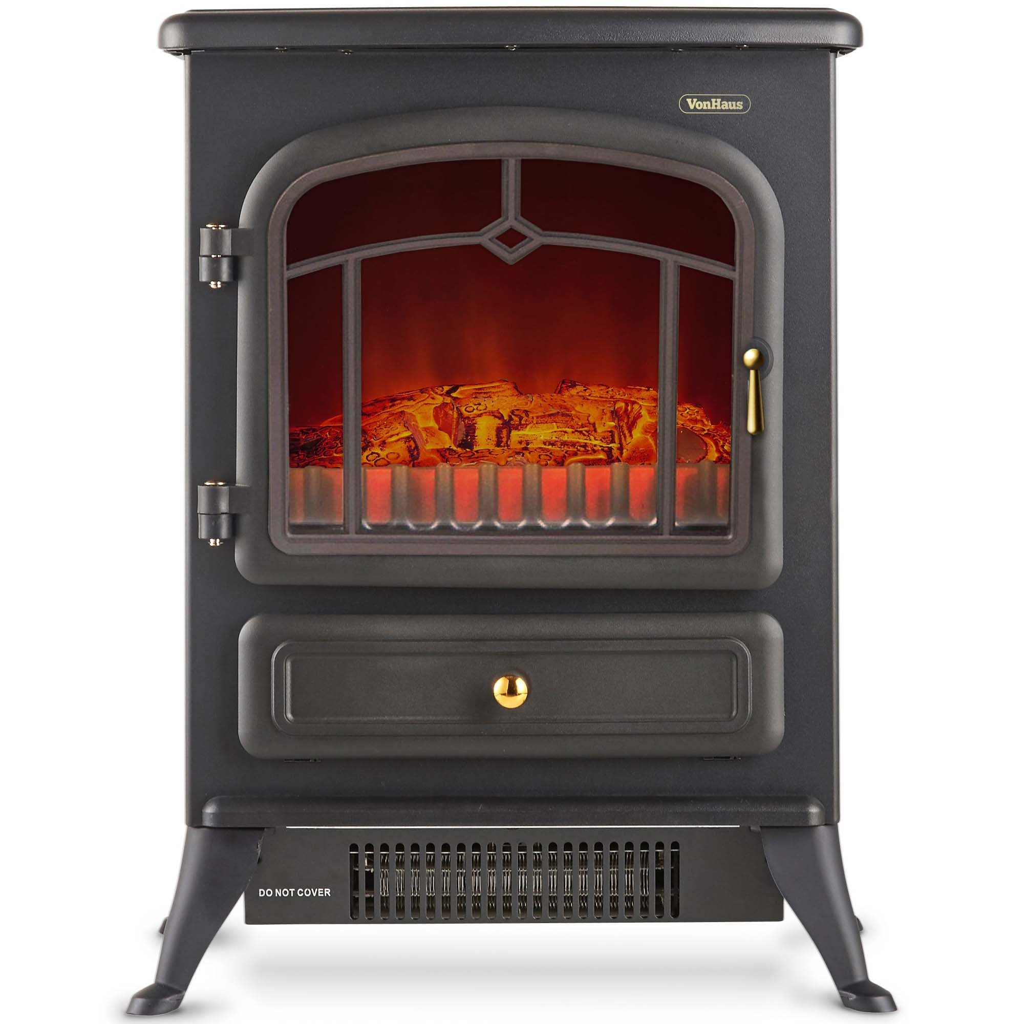 VonHaus Electric Stove Heater Fireplace with Realistic Log Wood Burning Flame Effect and 2 Heat Settings - Portable Free Standing Space Heater 1500W - Black