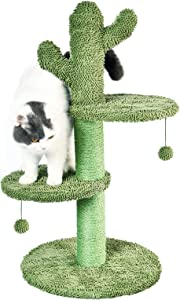 BOLUO Tall Cat Scratching Post for Large Adult Cats Tree Catcus Cat Scratcher Toy Cute Kitten Kitty Sisal Scratch with Teaser Ball Indoor Outdoor 31 Inch