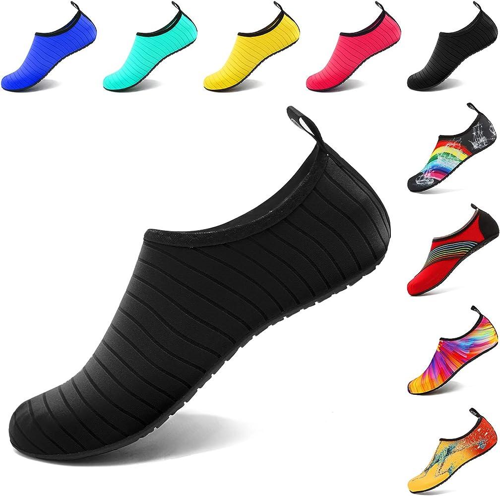 QT Barefoot Water Skin Shoes Aqua Socks Quick Dry Beach Swim Surf Yoga