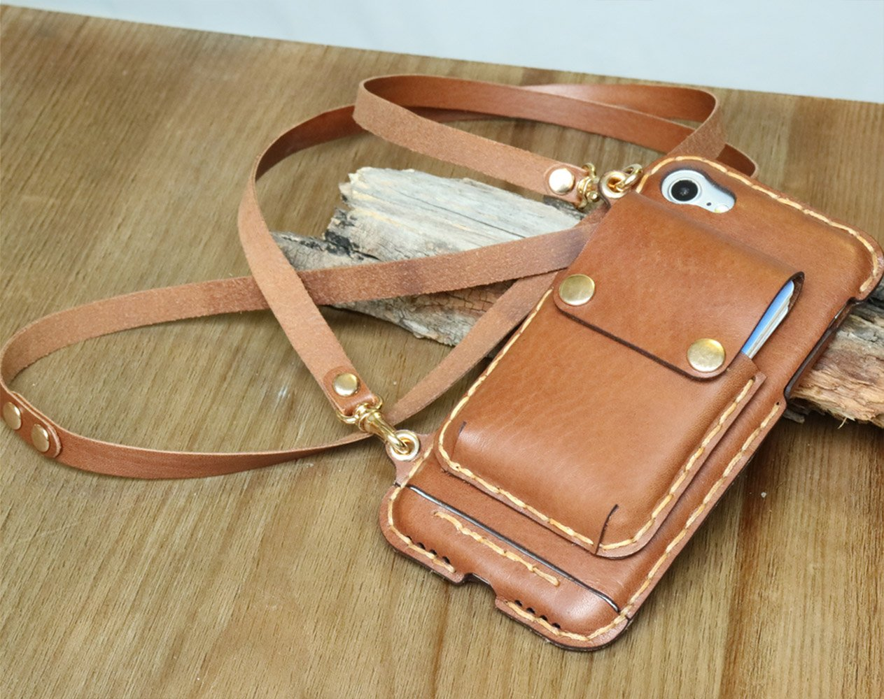 iPhone X CHESTNUT case with lanyard crossbody purse leather CHESTNUT Mini Phone Pouch with Shoulder Strap with removable pouch removable pouch for wireless charging 01LS