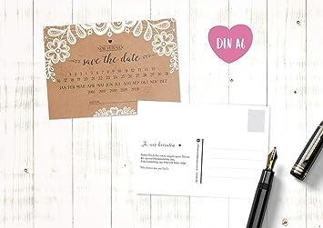 Save The Date Karten Vintage.10 Save The Date Karten Hochzeit Postkarten Sweet Vintage Kraftpapier Spitze