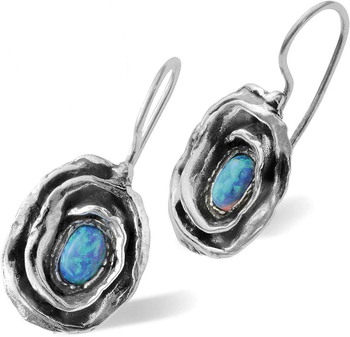 Rosa pendientes en plata de ley 925con creado azul Fire y Ópalo alambre y gancho seguro de la espalda