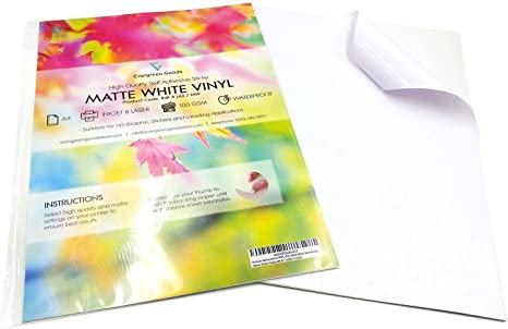 50 White Rectangles Self Adhesive Waterproof Vinyl Labels size 25mmX12mm
