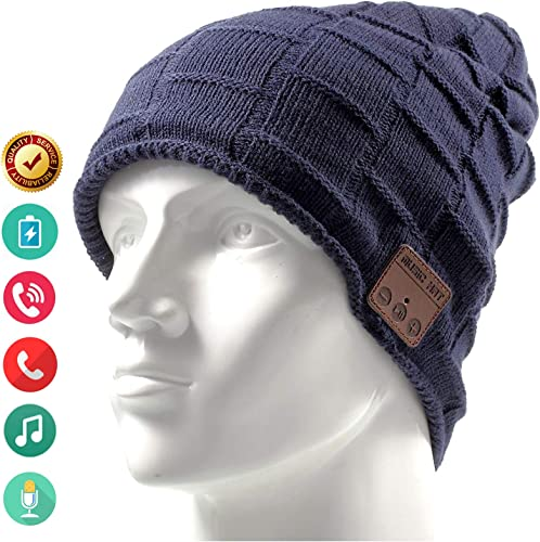 Bluetooth Hat Beanie Wireless Earbuds Headset Headphones Music Audio Women Men Boys Girls Winter Cap with Speaker Mic Hands Free Outdoor Sport Stereo Earphone Earpieces Blue