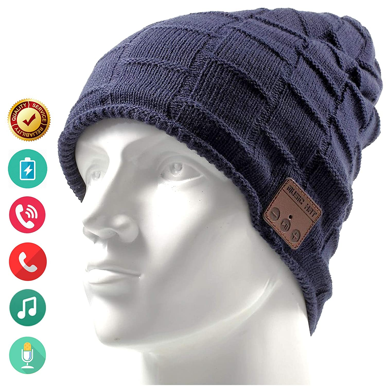 Bluetooth Hat Beanie Wireless Earbuds Headset Headphones Music Audio Women Men Boys Girls Winter Cap with Speaker Mic Hands Free Outdoor Sport Stereo Earphone Earpieces Blue