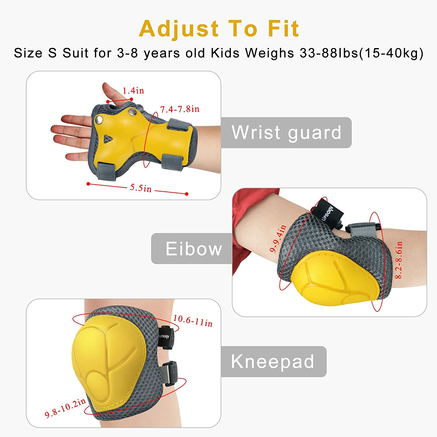 Kids Protective Gear Set Upboxn Knee Pads and Elbow Pads with Wrist Guard Skateboard Accessories for BMX Bike Skateboard Skating Cycling Rollerblading Scooter for Kids 3-8 Years 6Pcs Yellow, Small