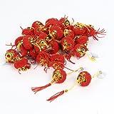 uxcell ちょうちん 提灯 赤いランタン装飾 ゴールドトーンの裾 飾り物 中国風 サクションカップ タッセルの装飾 30個