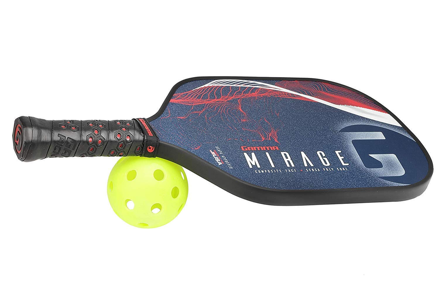 GAMMA Mirage Composite Pickleball Paddle: Pickle Ball Paddles for Indoor & Outdoor Play - USAPA Approved Racquet for Adults & Kids - Red/White/Blue by Gamma (Image #6)