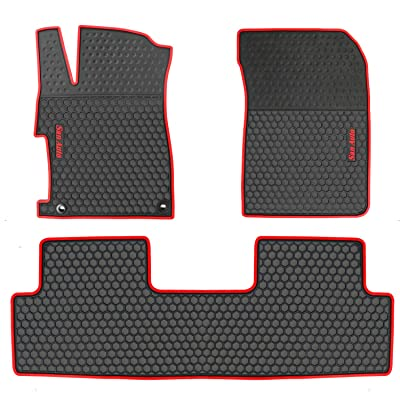 HD-Mart Car Floor Mat for Honda Civic 9th Generation 2012 2013 2014 2015, Custom Fit Rubber Black and Red Auto Floor Liners Mat All Weather Protection Heavy Duty Odorless: Automotive